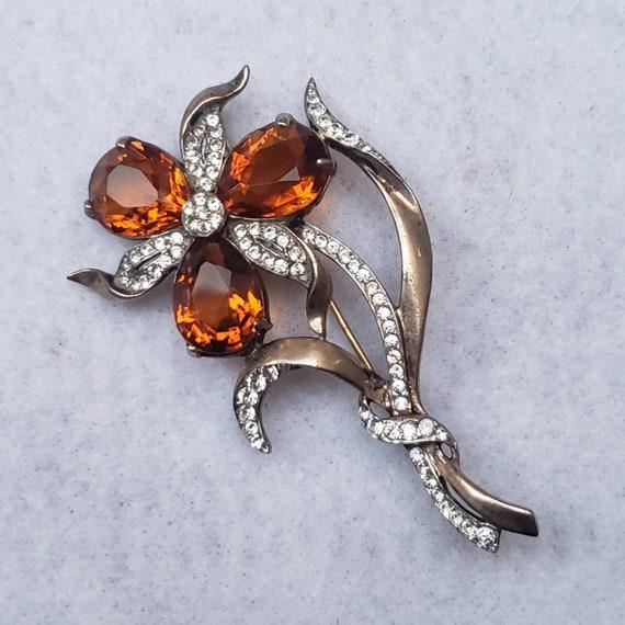 REJA STERLING TOPAZ Pear Shaped Crystal Flower Bro