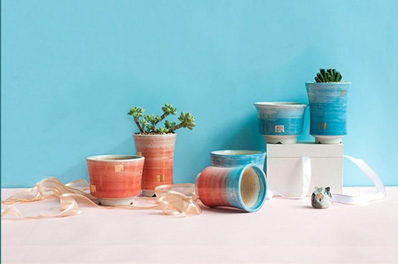 Bearie/'s Garden Gradient Rainbow Medium Ceramic Succulent Planter with Drainage  Succulent Pot  Tabletop Decor  Indoor Decor