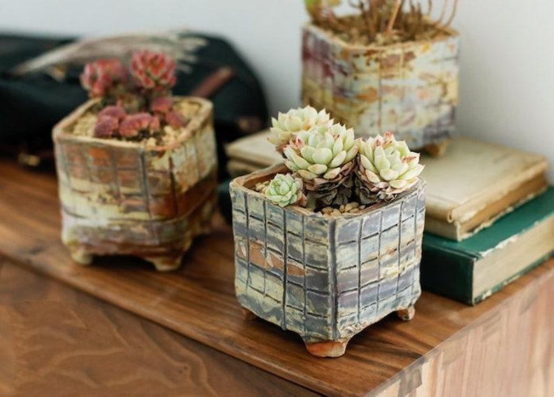 Rough Ceramic Succulent Pots Planters with Drainage Hole  image 0