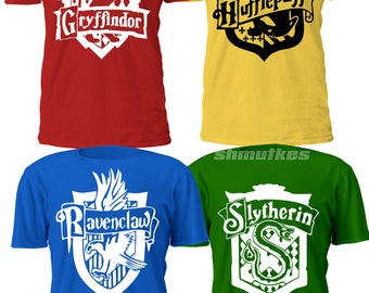 f6bc2aae5 Slytherin Ravenclaw Gryffindor Hufflepuff t-shirt. Brand new. Custom made to  order. Any size & logo. Men women sizes