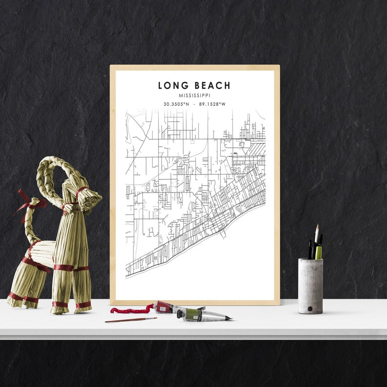 Long Beach City Road Map Print Long Beach Gift Map Michigan USA Map Art Poster Long Beach Map Print