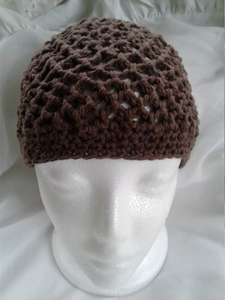 Beanie Hat, Handmade Crocheted Hat, Hair and Head Accessories, Skull Cap 100% Cotton, Dark Taupe, Tan, Light Brown