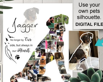 d53dd78b0e97 Your own Dogs Silhouette Pet Memorial, Dog Custom Silhouette Photo Collage,  Dog Wall Art, Digital Download, Pet Remembrance Collage
