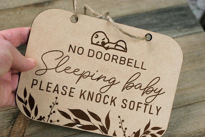 Baby Sleeping Doorbell Signs Front Door Baby Sign Best Baby Shower Gifts Newborn Baby Sign Wood Baby Sign Please Knock Sign Softly Sign