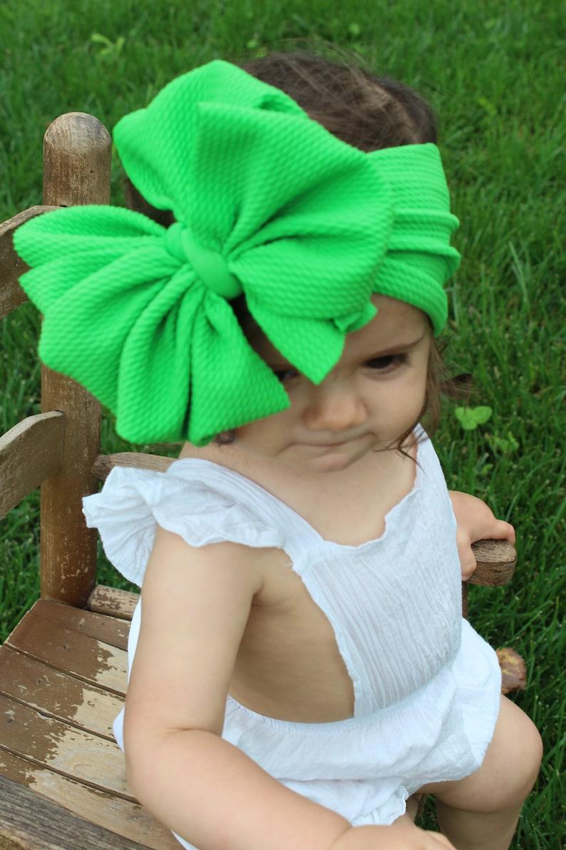 Kelly Green messy bow,stretchy headband,stretchy bow head wrap hair bows messy bow stretchy bow