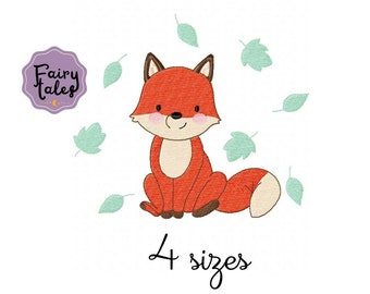 Fox Leaves Boy embroidery designs, animals embroidery design machine, baby embroidery pattern file instant download, Newborn embroidery