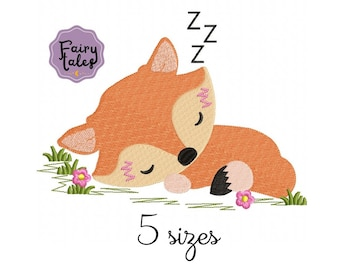 Cute Fox Sleep embroidery designs, animals embroidery design machine, baby embroidery pattern file instant download, Newborn embroidery