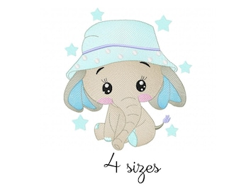 Elephant Supercute embroidery design, baby embroidery design machine, newborn embroidery pattern, file instant download, animals embroidery