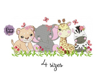 Safari Girl embroidery design, Animal embroidery design machine, Baby embroidery pattern, file instant download, newborn embroidery design