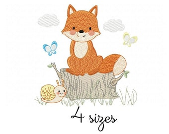 Fox Snail Boy embroidery designs, animals embroidery design machine, baby embroidery pattern file instant download, Newborn embroidery
