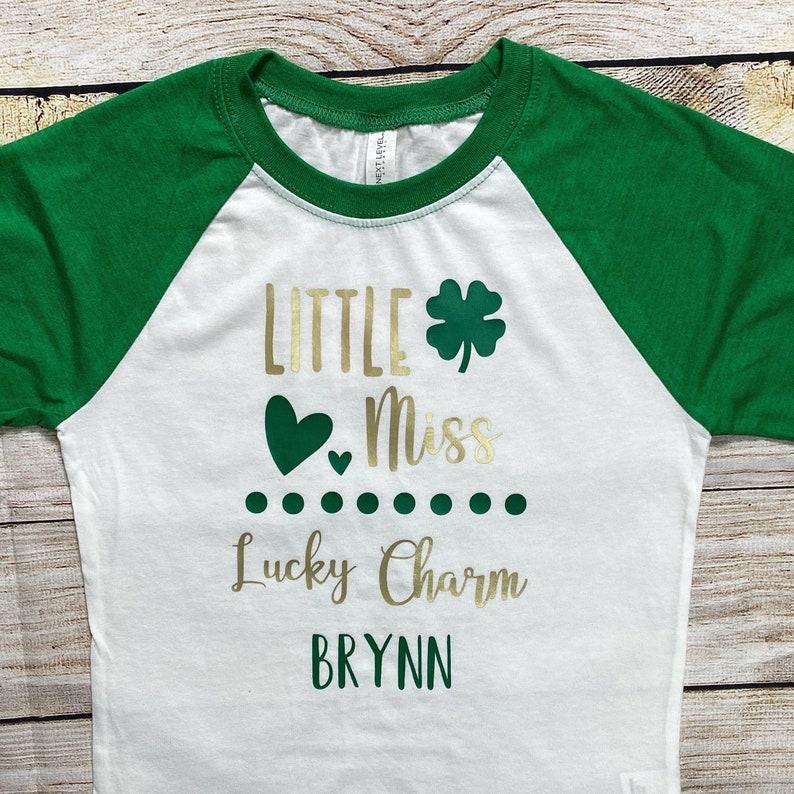 Personalized St.Patrick/'s Day Shirt For Girls Little Miss Lucky Charm Clover Custom Girls St.Patty/'s Day Shirt Lucky Irish. Shamrock