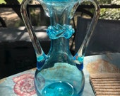 Hand Blown Turquoise Vase with Clear Applied Handles