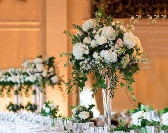 ~12 Piece- Set of 12- Trumpet Centerpiece Trumpet Vase Tall Centerpiece Trumpet Clear Vase Glass & Wedding centerpiece tall vase | Etsy