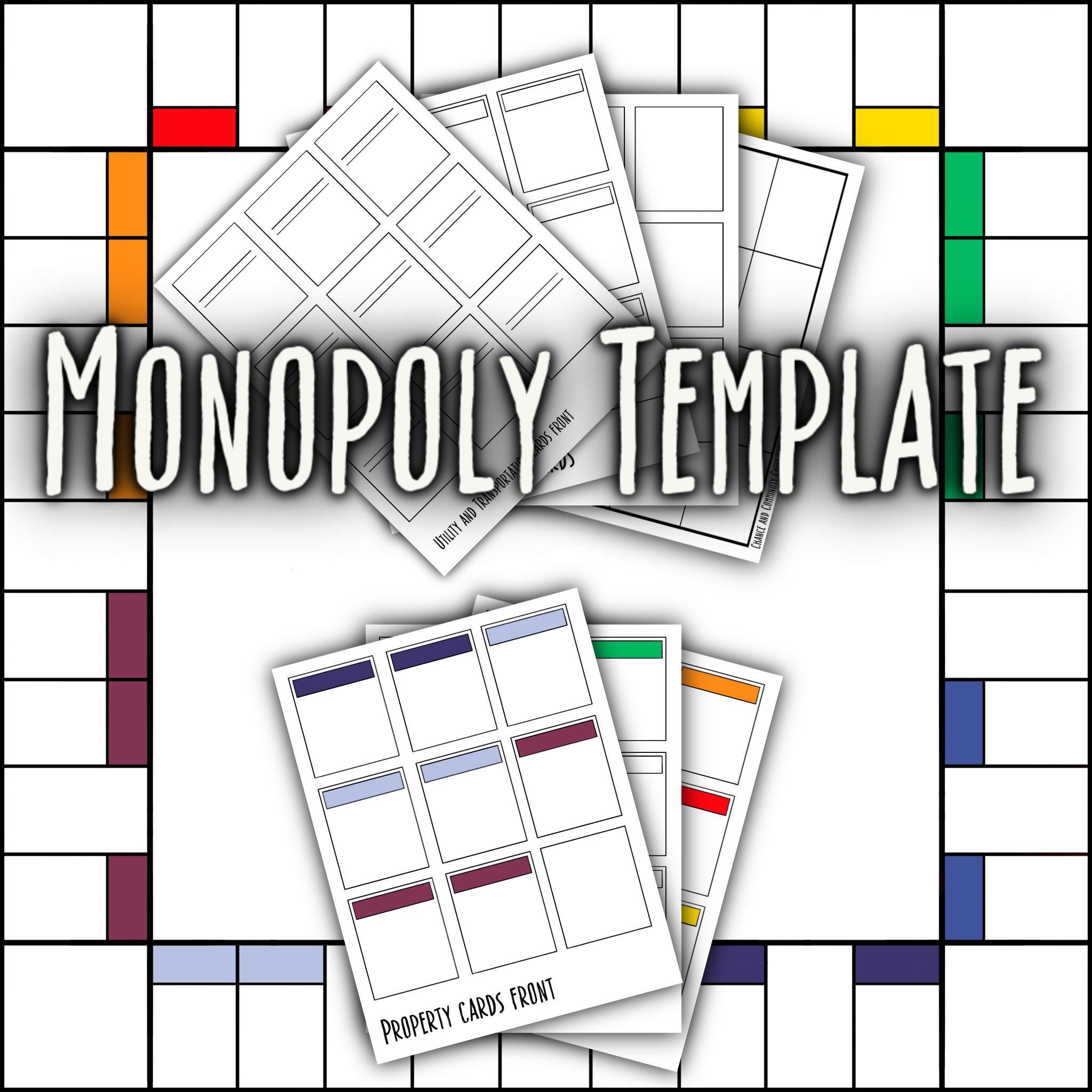 Blank Monopoly Template  Etsy With Chance Card Template