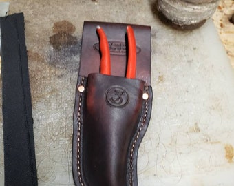 Leather Hand Pruner Holder for your Belt and/or with a clip*Handmade* multiple colors.