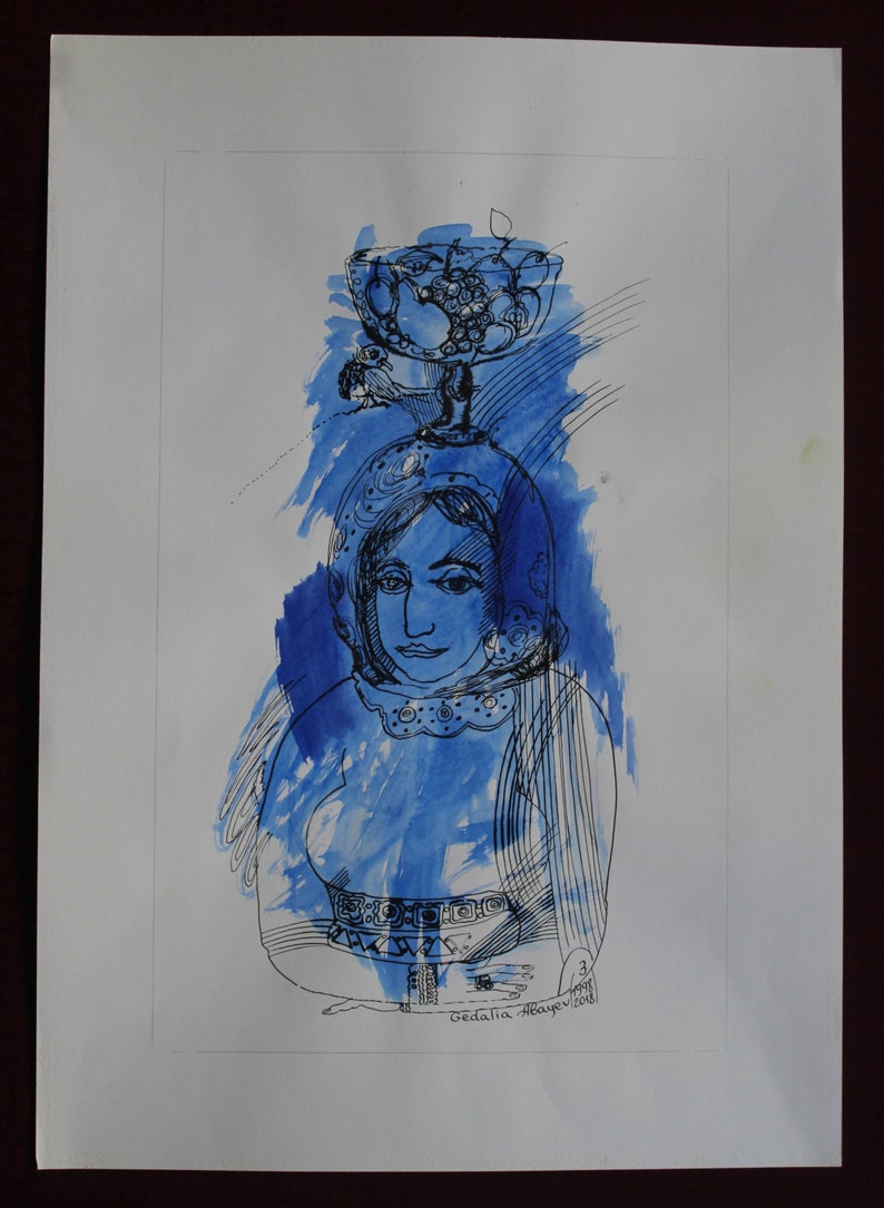 Original pen ink with watercolor on paper character NO.4