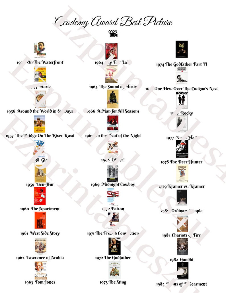 Academy Awards Oscars Best Picture list with thumbnails ...