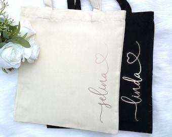 9aaca6e181 Custom Tote Bag | Personalized Tote Bag | Bridesmaid Tote Bag | Bridal  Party Gift | Bridesmaid Gift | Rose Gold Tote Bag | Gold Tote Bag