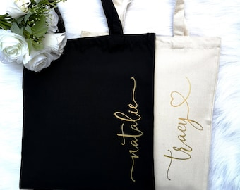Personalised Bride Tote Bag GLITTER Short Handle Storage Bridesmaid Party Custom