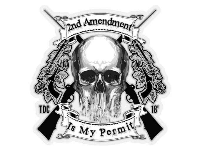 Featured listing image: 2nd Amendment is My Permit   Thumbs Down Crue Streetwear Kiss-Cut Stickers