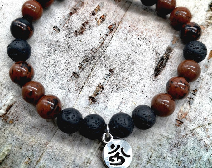 Semi-precious and volcanic stone bracelet