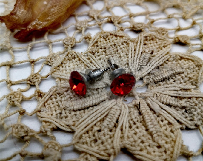 Fake red diamond earrings