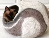 Large Cat Cave, Cat Bed, Wool Cat Cave, Cat Cocoon, Cat House, Cat Hideout, 100 Sheep Wool , Brown Grey Neutral