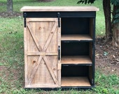 Fir Wood and Metal Farmhouse Cabinet, Accent Table Furniture with Shelves and Sliding Door,Entryway Storage Organizer,35 quot H,Brown