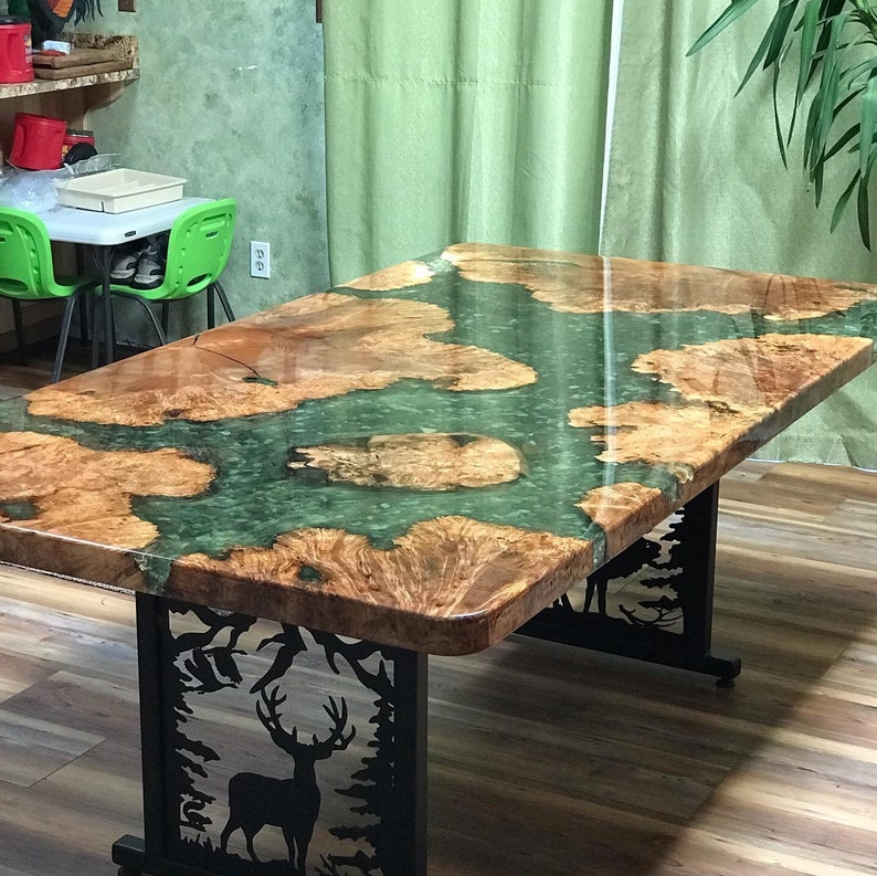 Custom Epoxy River Table with River Rock