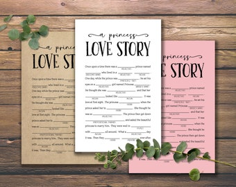 Princess Theme Baby Shower Mad Libs Set of 4 Unique Stories with key for back