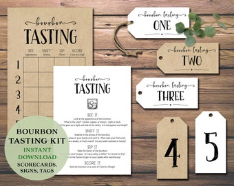 Bourbon Tasting Party Kit. Instant download printable. Score card, place mat, labels tags, card flight bundle. Guys, bachelor, date night.