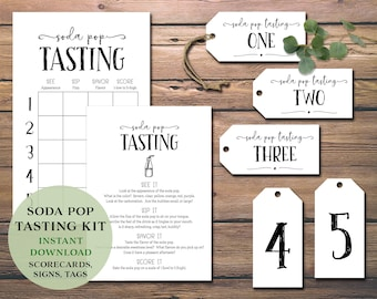 Soda Pop Tasting Party Kit. Instant download printable. Score card, place mat, labels tags, card flight bundle. Holiday. Kids birthday idea.