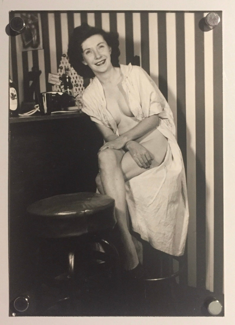 Vintage 1950s Mature NUDE Photograph Sitting at the Bar