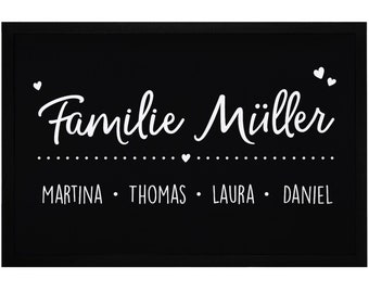 Doormat with name family firstname family name hearts personalized non-slip & washable SpecialMe®