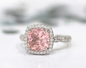 8mm Pink Morganite Engagement Ring Halo Ring Vintage Unique Wedding Ring Silver Ring Stackable Ring Bridal Gemstone Ring Anniversary Gift