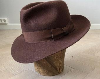 378021fe5397a1 Vintage large fedora, excellent condition, wide brim hat, brown fedora