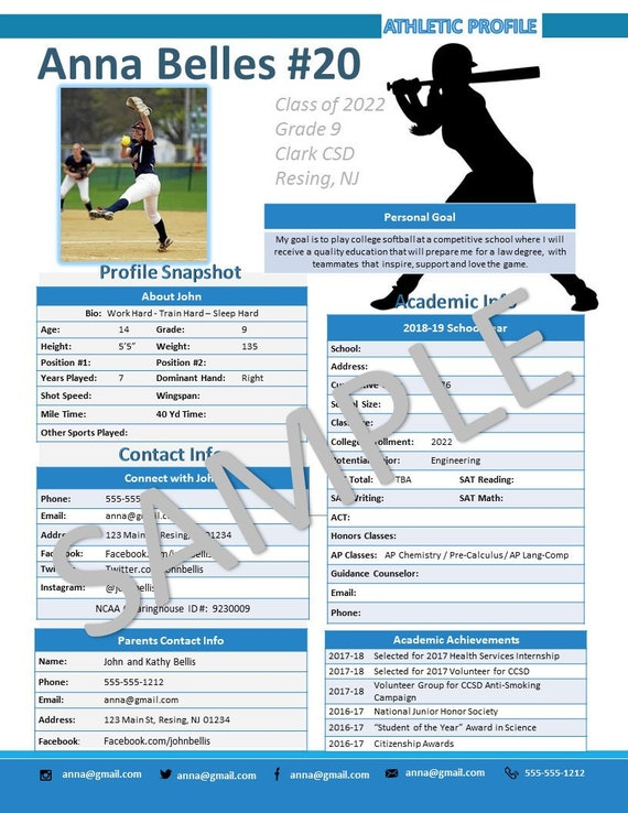 Softball Athletic Profile Deluxe Template Etsy