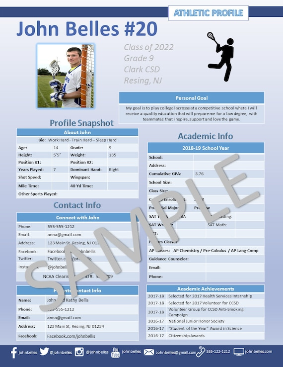 Lacrosse Athletic Profile Deluxe Template