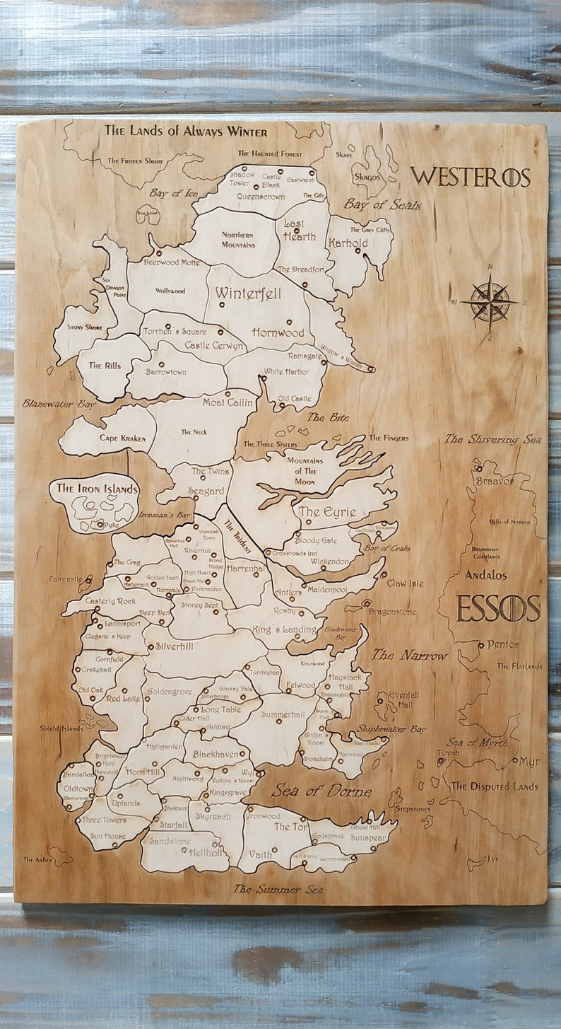 Westeros Wooden Map Puzzle Custom Wooden Game Of Thrones Westeros Game Of Thrones Puzzle Game Of Thrones Map Game Of Thrones