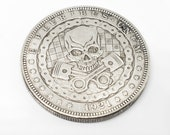 1921 Morgan dollar hobo nickle coin mad max style engine skull coin
