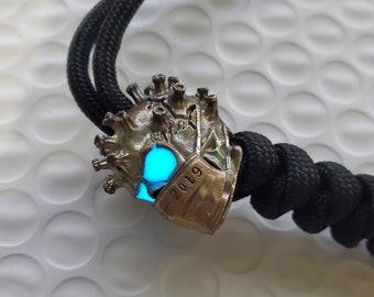 GLOWING EYES Beautiful Brass lanyard EDC Masked Virus Man v2 Skull Bead Gear Aged Europium