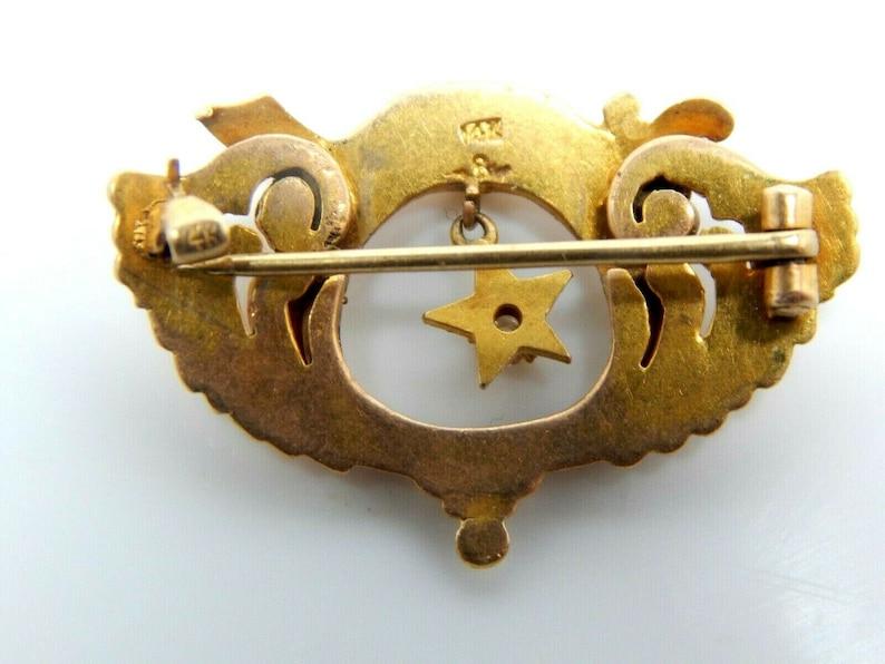 Antique Vintage 14K Gold Egyptian Revival Shriner/'s Masonic Star Diamond Enamel Brooch Pin