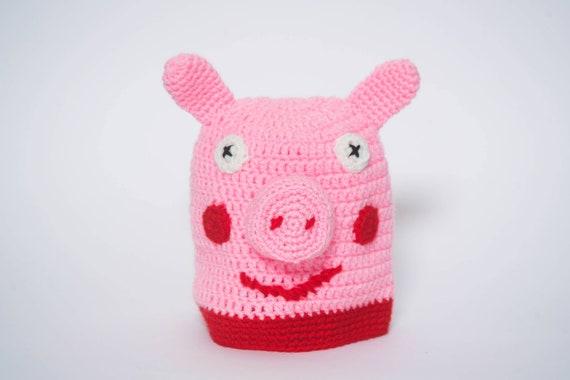 Kinder//Mädchen Peppa Wutz Rosa//Weiß Mütze mit Schwein Ohren