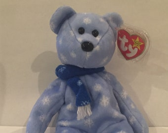 Baby ice blue snowflake 1999 holiday teddy bear TY Beanie Babies with errors db9321b272ef