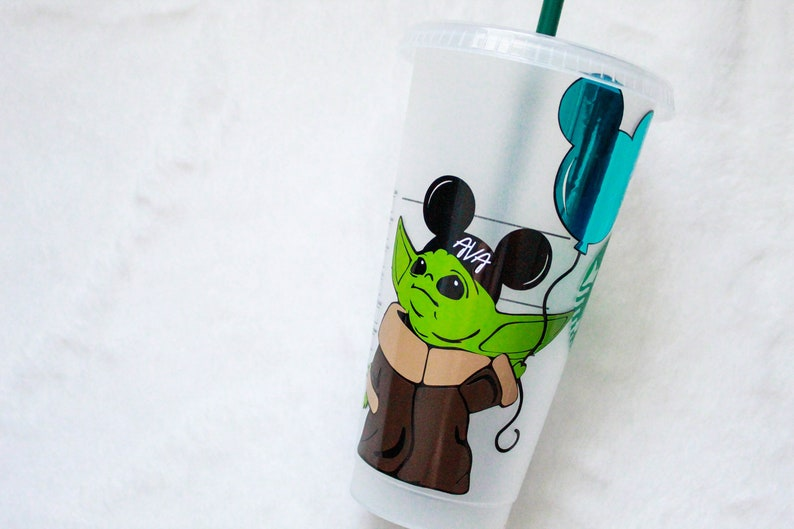 Baby Yoda Disney Inspired Personalized Starbucks Reusable Cold image 0