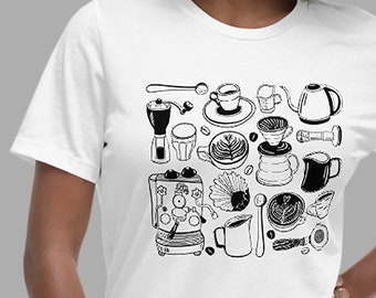 Women's Relaxed T-Shirt with Black Coffee Set Illustration (Barista, Coffee Lover, Espresso, Caffeinated, Cappuccino, Latte Art)