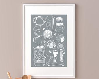 Coffee Set Home Barista Art Print ( Coffee Machine, Coffee Beans, Pitcher, Tamper, Latte Art, Cappuccino, Rosetta)