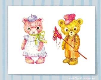 Cute Vintage Teddy Bears Kids Art Print (Great Wall Art Decor for Nursery Room)