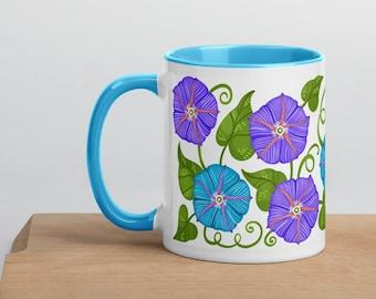 Morning Glory Botanical Coffee Tea Mug with Color Inside (Flowers, Garden Love, Plant)