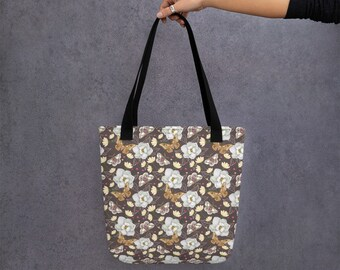 Spacious Tote bag with Moths and Magnolias Pattern (hand painted by Olga Akbarova)